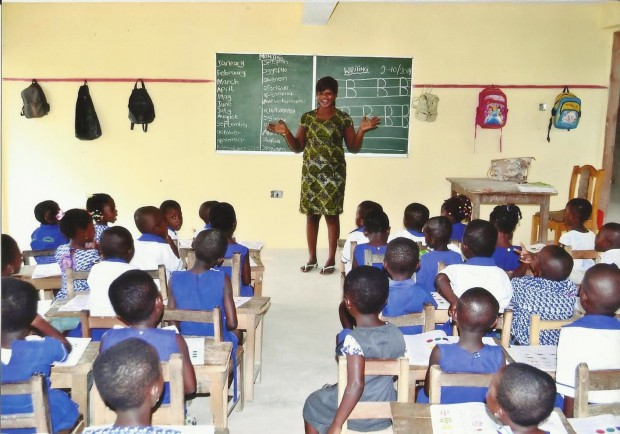 V!VE l'Initiative klas nieuwe kleuterschool Osei Sarpong International Scool in Offinso Ghana